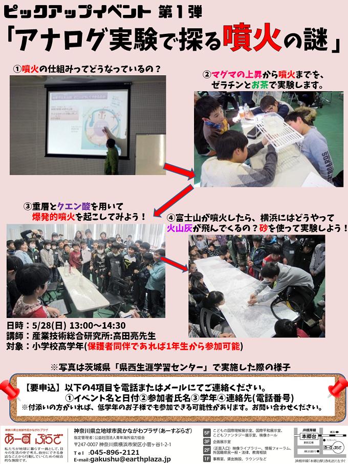ピックアップイベント【アナログ実験で噴火の謎】